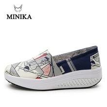 Minika Upgrade Women Canvas Slip On Loafer Shoes Outdoor Walking Sneakers Girls Fitness Shape-up Swing Shoes Wedges Footwears