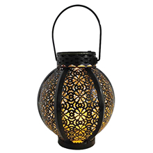 LED Retro Garden Solar Lamp Metal Hollow Shadow Projection Hanging Lantern Outdoor Lighting Waterproof Landscape Light Custody