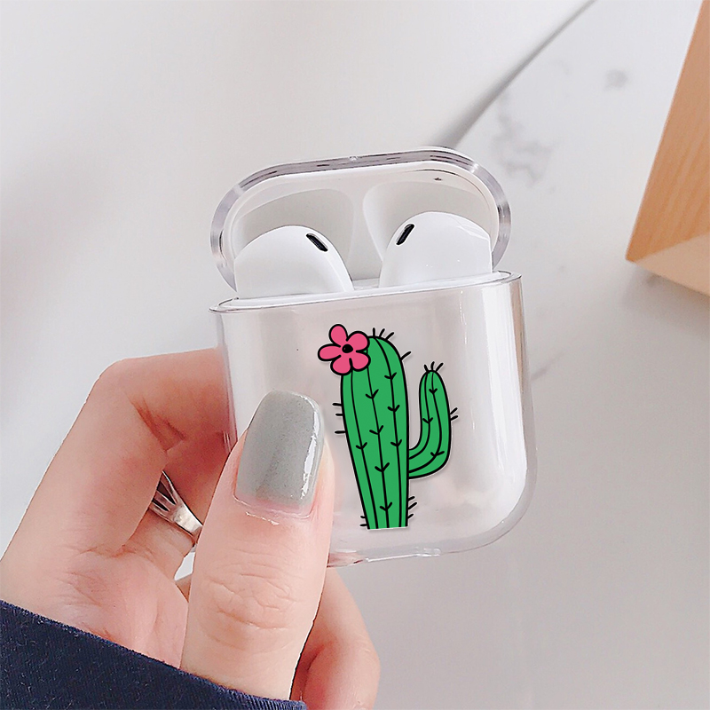 Cactus Pattern Earphones Case For AirPods 1 2 Hard Transparent Headphone Cover Buckle For AirPods 1 2 Charging Box Coque