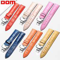 DOM Genuine Leather Watchbands Women 12 20mm Universal Watch Butterfly Buckle Band Steel Buckle Strap 20mm Watch band