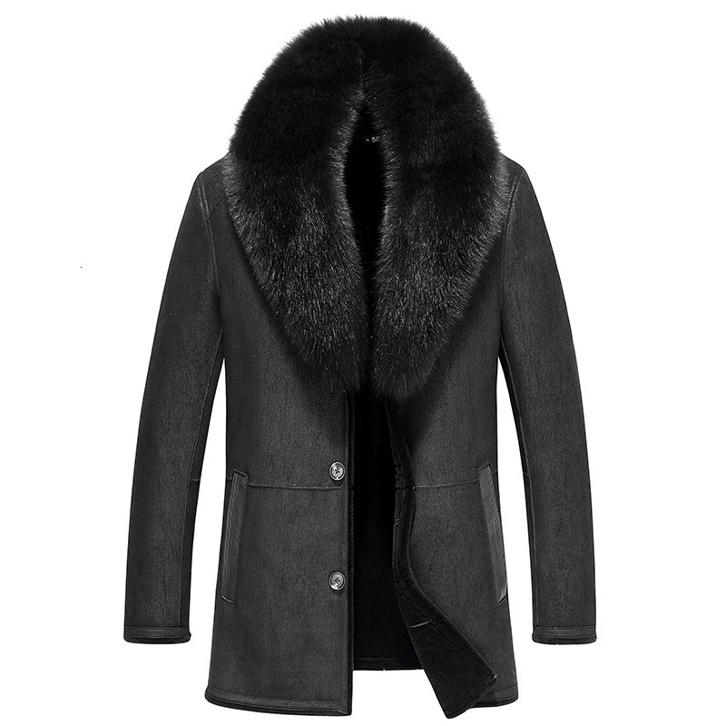 Leather Jacket Men Sheep Shearling Fur Coats Real Fox Fur Collar Wool Fur Coat Winter Jacket Jaqueta De Couro 37-1879 YY507