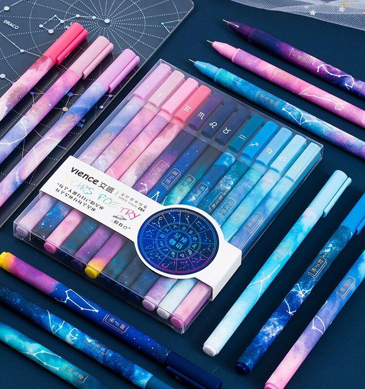 12pcs Cute Pens Kawaii Pen Cute Constellation Pen 0.5 Mm Gel Pens Black Ball Point Pens For School Office Supplies