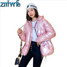 Silver Glossy Winter Coat Women Clothes 2019 Coats Jacket Hooded Parkas  Jackets