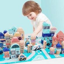 133 pcs Per Bambini In Legno Bambino Giocattoli di Intelligenza Blocchi di Costruzione Giocattoli Urbano Delle Ragazze Dei Ragazzi Prima Educazione Regali di Forma di Riconoscimento