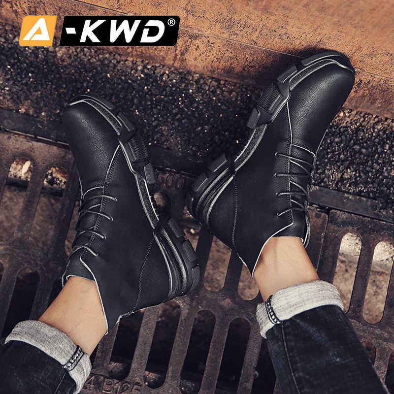 Moda Khaki Split skórzane trampki człowiek zimowe buty mężczyźni ciepłe buty robocze człowiek sznurowane botki Botas Invierno Hombre 38-46