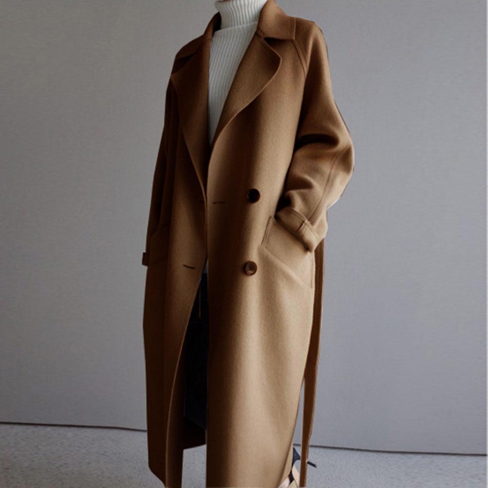 Winter Beige Elegant Wool Coat Women Korean Fashion Black Long Coats Basic Minimalist Black Overcoat Warmness Oversize Outwear