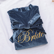 Home-Clothes Nightgown Sleepwear Wedding-Robe Velvet Bride Sexy Lady Velour Casual Grey