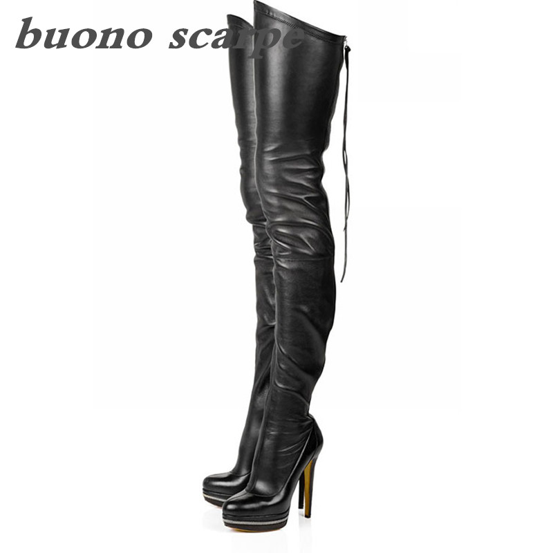 New black elastic high heel female round head over the knee boots nightclub sexy back zipper waterproof platform boots