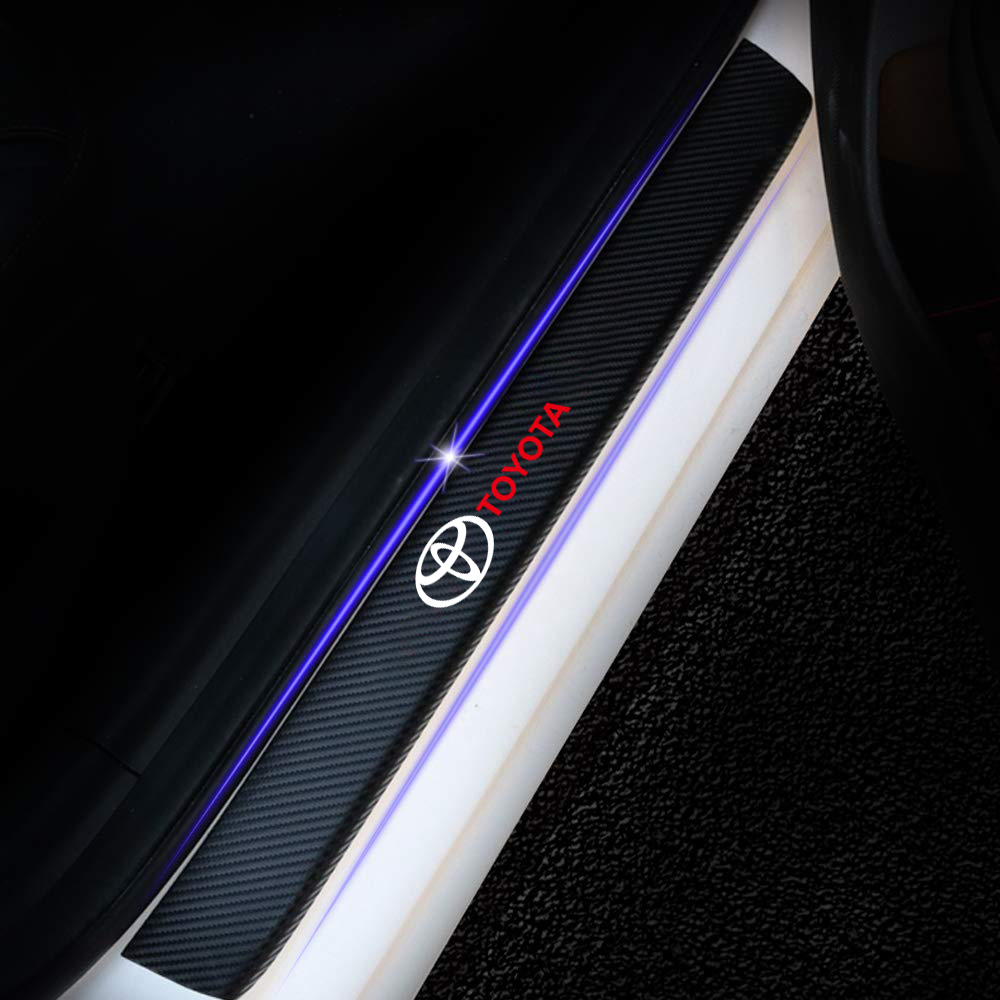 Car 4PCS Carbon Fiber Door Sill Protector Protection Stickers For Toyota Corolla Chr Auris Rav4 Yaris Avensis Car Styling