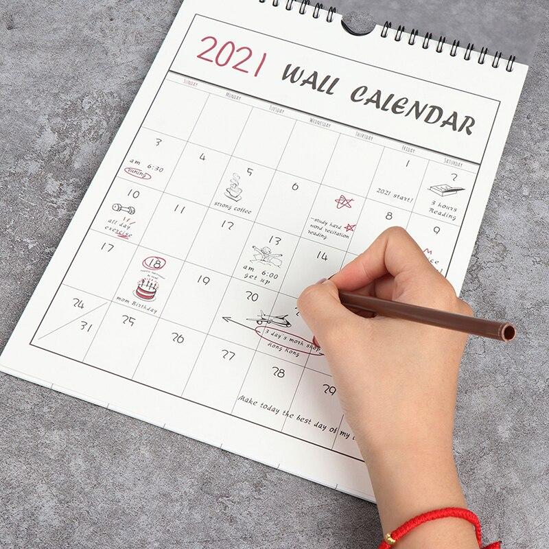 1PC 2021 Wall Calendar Agenda Organizer Home Office Hanging Wall Calendar 20.7*29cm
