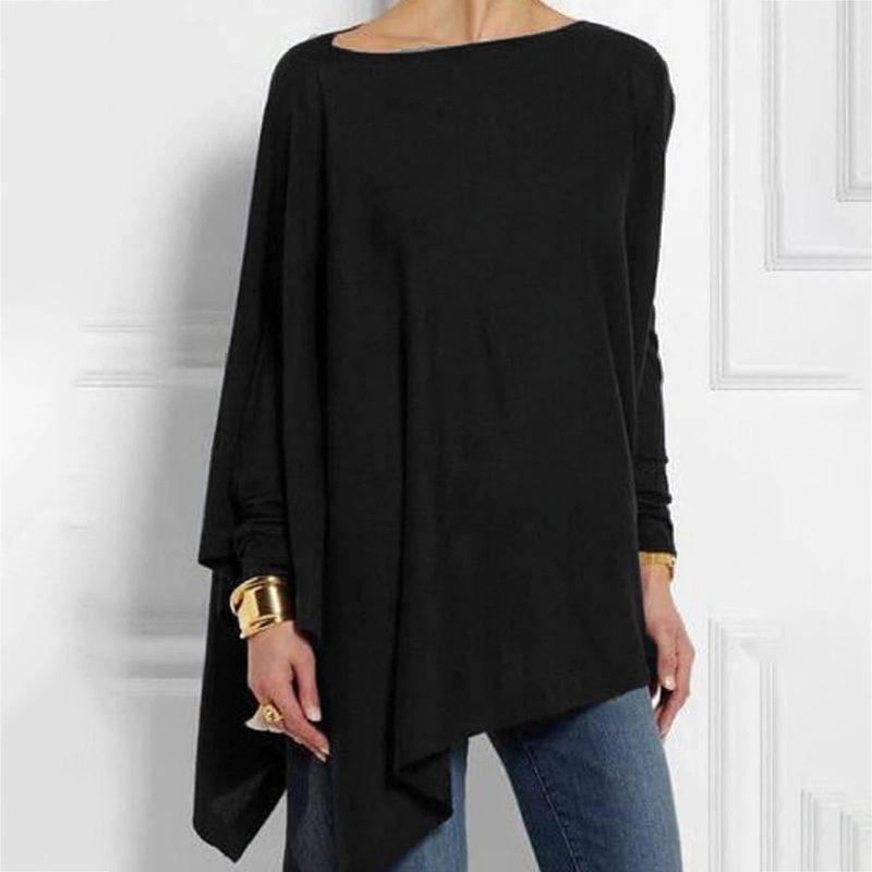 Женская Асимметричная Однотонная футболка с круглым вырезом и длинными рукавами, повседневные Простые футболки Футболки      АлиЭкспресс - Футболки и рубашки