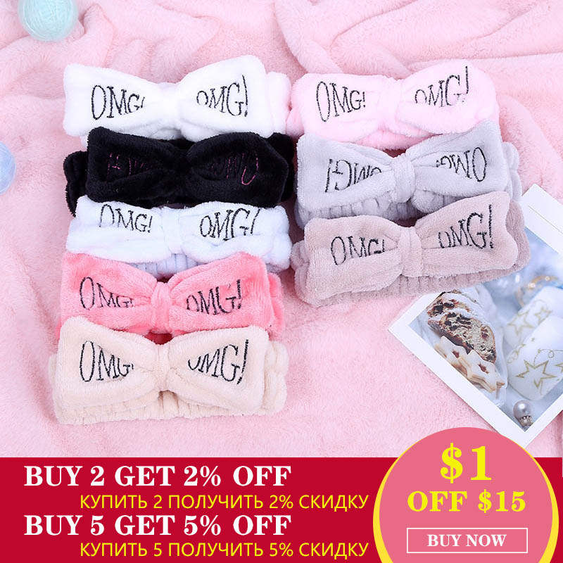 2019 New OMG Letter Coral Fleece Wash Face Hairbands For Women Cute Soft Bow Girls Headbands Hair Bands Turban Hair Accessories