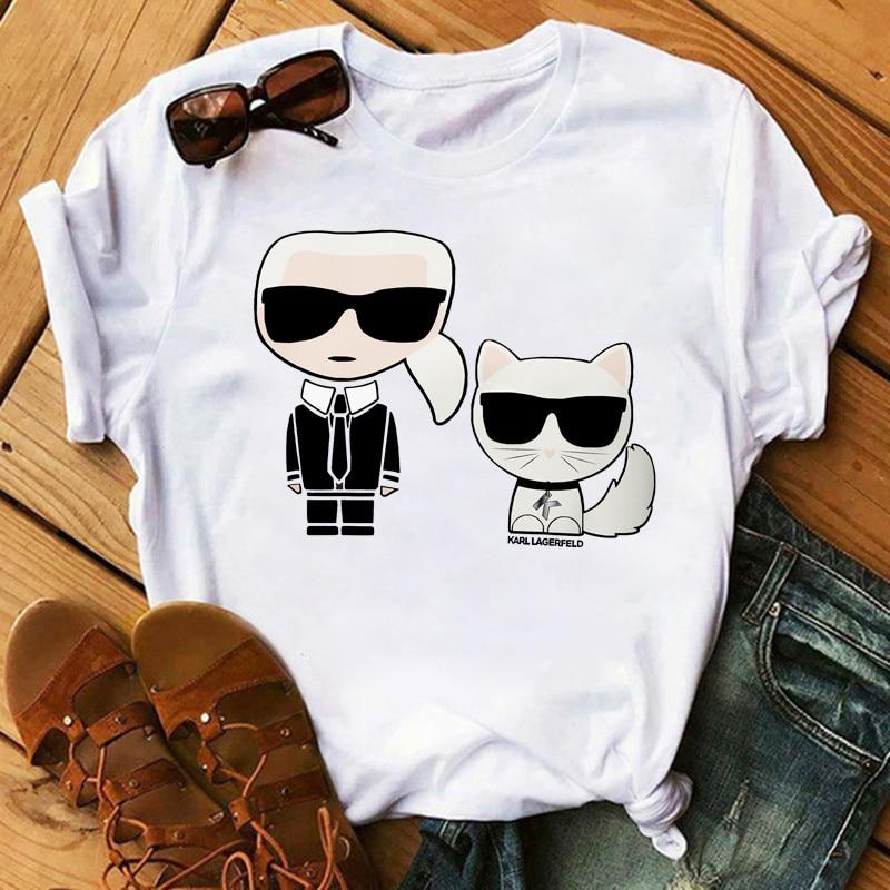 WVIOCE Karl Lagerfeld T Shirt Funny Print Women Female Tshirt Summer Harajuku Short Sleeve T Shirts Cartoon Casual  Woman Tops