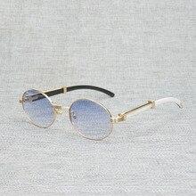 VINTAGE สีขาวสีดำบัฟฟาโลฮอร์นแว่นตากันแดดผู้ชายรอบ Natura ไม้แว่นตาผู้หญิงกลางแจ้ง CLEAR กรอบแว่นตา Oculos Shades