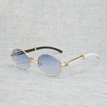 Vintage White Black Buffalo Horn Sunglasses Men Round Natura Wood Eyewear for Woemn Outdoor Clear Glasses Frame Oculos Shades