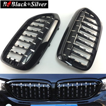 2 шт. черный серебристый автомобильный передний центральный гриль решетка крышка Замена Накладка для BMW 5 серии G30 G31 2017 2018