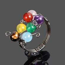 Кольцо ручной работы семь чакр натуральное индийское кольцо