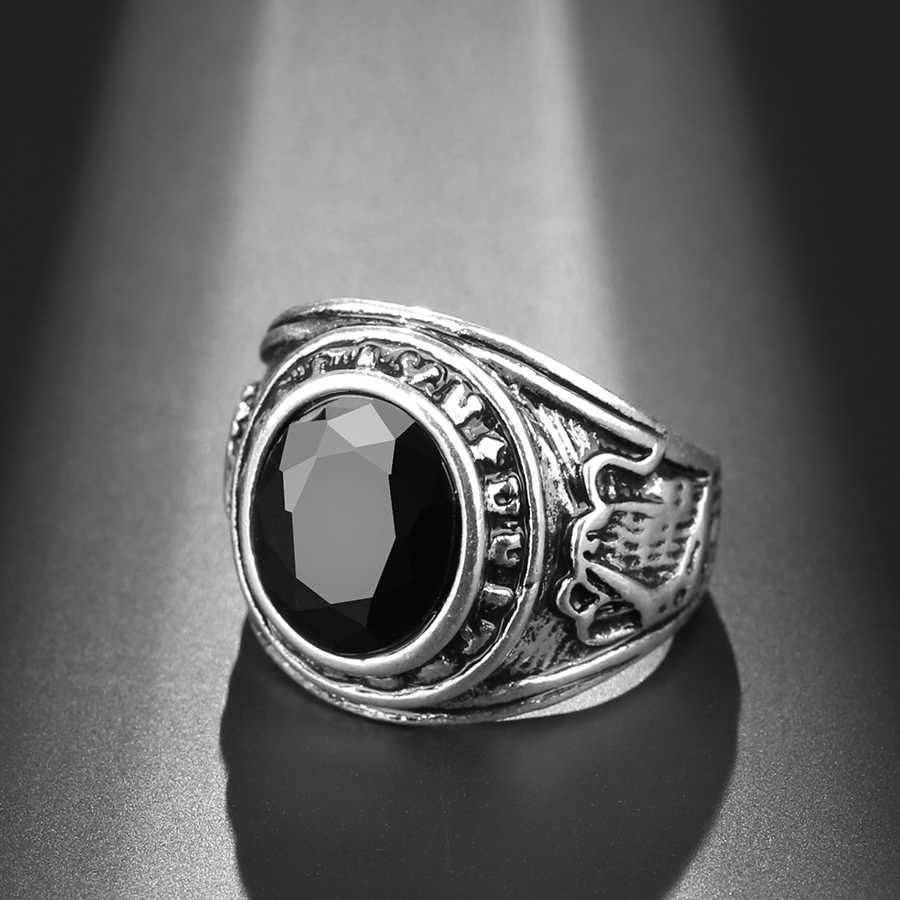 Kinel Punk Rock หินสีดำแหวนผู้ชายโบราณเงิน Vintage เครื่องประดับขายส่ง