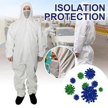 цена на Disposable Protective Clothing Anti-Dust Isolation Hooded PE Coverall Ventilation Front Zipper Clothing Anti-Static Jagged Seams