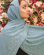 New Women's Bubbles Chiffon Scarf With diamond studs Pearls scarf plain hijab shawls Wraps solid color muslim hijab scarf 1pc