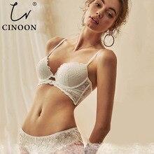 CINOON seksowna bielizna damska komplet koronkowa seksowna biustonosz i majtki Push up wygodny biustonosz regulowana zebrana bielizna