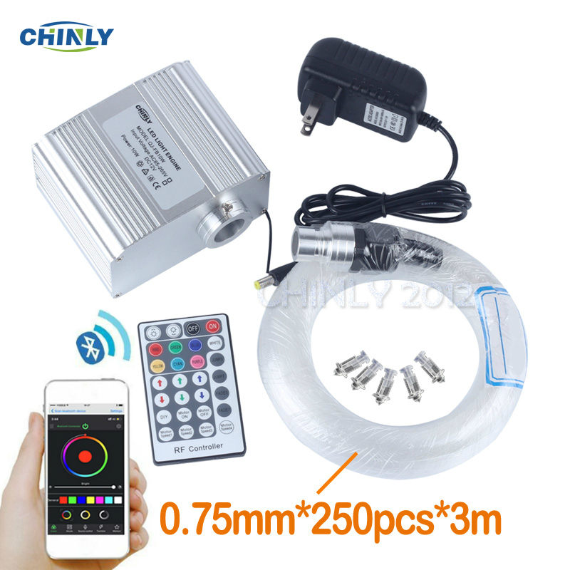 Fber Optic Lights CREE Chip 10W RGBW Twinkle Bluetooth APP Control Star Sky Ceiling Lights Music Control 250pcs 0.75mm 3M Cable