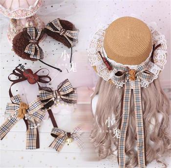 Styl mori girl skrzypce niedźwiedź kapelusz przeciwsłoneczny na plażę płaskie góry Cap dziewczyna Lolita Kawaii koronka księżniczki wstążka łuk słomkowy kapelusz nakrycia głowy prezent B523 tanie i dobre opinie WOMEN Adult Mieszkanie kapelusze kostiumy
