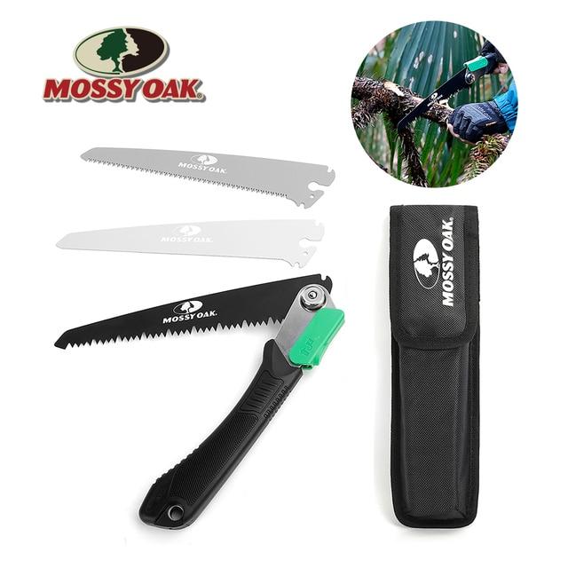 Mossy Sierra plegable 3 en 1 de roble para acampada, sierra plegable de jardín para carpintería, herramienta de jardinería