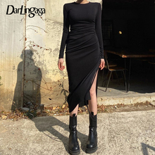 Darlingaga Asymmetrical Drawstring Ruched Black Dress Midi Casual Long Sleeve Bodycon Winter Dresses Female Side Split Vestidos