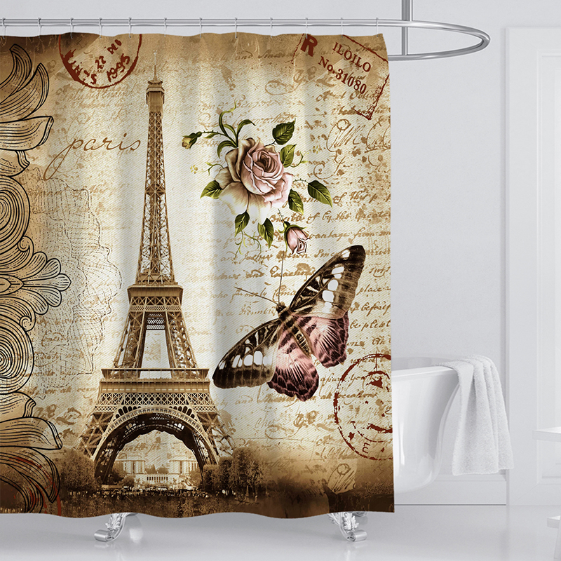 Image 2 - Butterfly  Shower Curtains Polyester Waterproof Shower Curtains Bath Curtain Bathroom Curtain-in Shower Curtains from Home & Garden