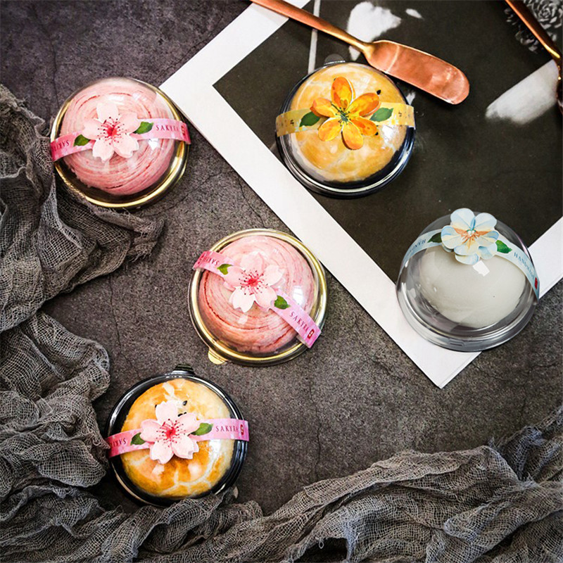 50pcs DIY Baking Package Moon Cake Plastic Boxes Round Transparent PET Packaging Candy Chocolate Gift Box Party Favors Boxes