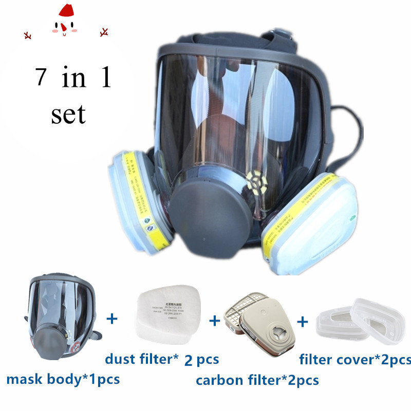 7 In 1 Gas Mask 6800 Full Face Face-piece Respirator Same For 3M 6800 Gas Respirator With Carbon Filters Painting Pesticide