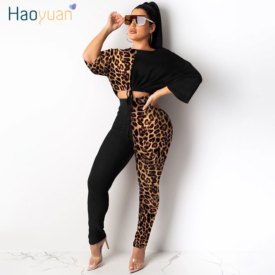 HAOYUAN Two Piece Set Tracksuit Women Festival Clothes Leopard Crop Top And Pant Sweat Suits 2 Piece Matching Sets Fall Outfits
