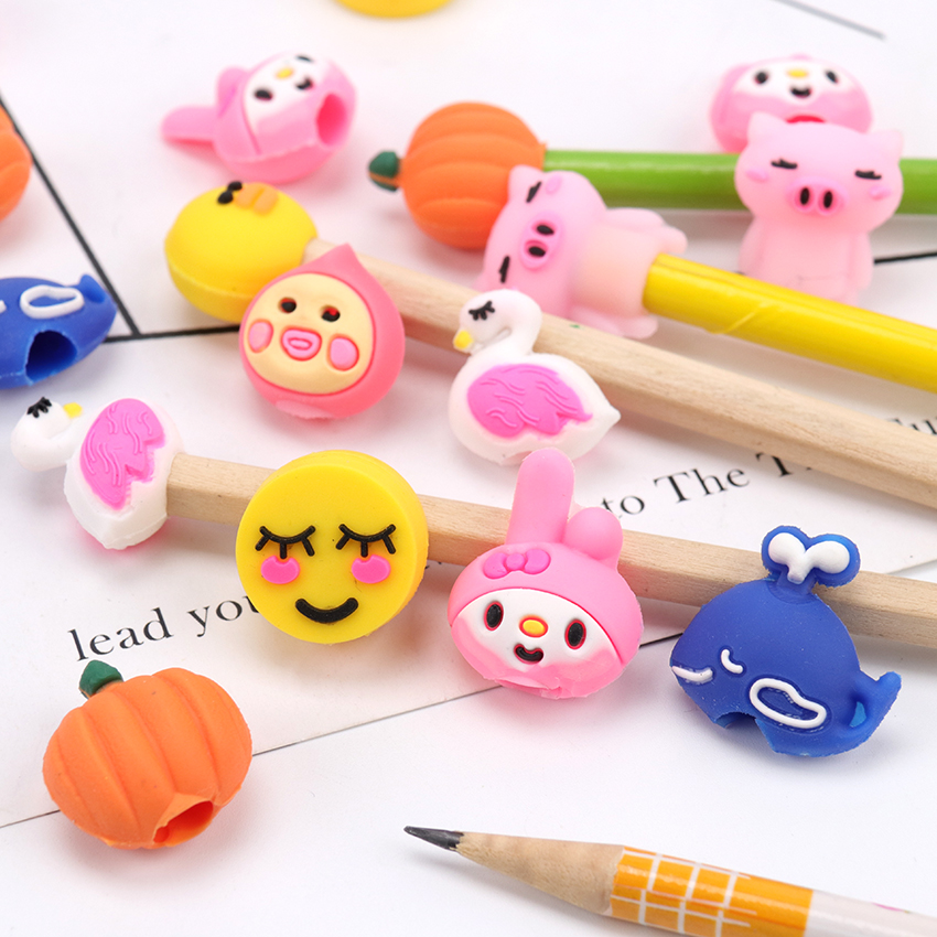 5PCS Pack Mini Multiple Styles Pencil Cover Kawaii Child Learning Stationery Gift Pencil Cap Hat