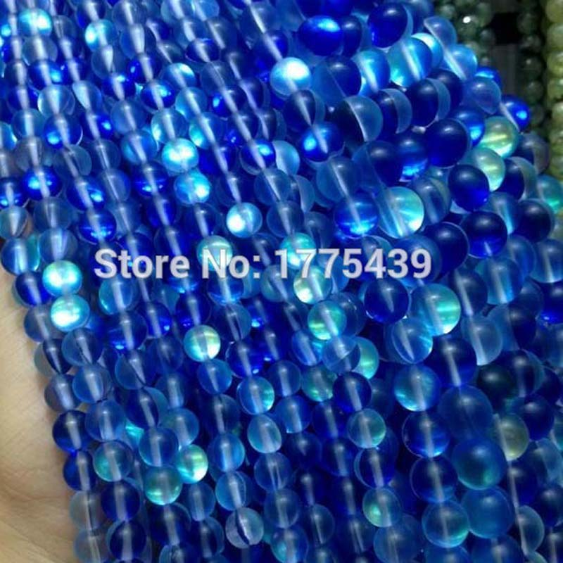 Free Shipping 6 8 10 12mm Discolor Blue Rock Crystal Quartz Round Gem Loose moon Beads Strand DIY Creative Jewellery Making(China)