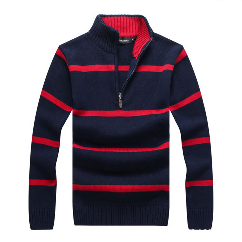 Men striped Sweater Men Stand collar pure cotton Sweaters 2020 new Warm Men Pullover Coat Outerwear 6 color Mens Sweaters