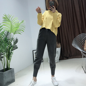 Image 4 - Women Spring Suede Harem Pants High Waist Elastic Pockets Harem Pants Casual Autumn Loose Plus Size Trousers Streetwear mujer