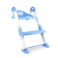 3 en 1 niños inodoro portátil silla plegable asiento de entrenamiento para el baño con el paso taburete infantil asiento de entrenamiento para el baño-ampliar azul L