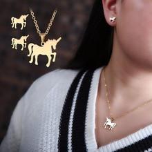 Titanium Steel Jewelry Fashion Personality Unicorn Horse Stainless Necklace Ear Nail Set!