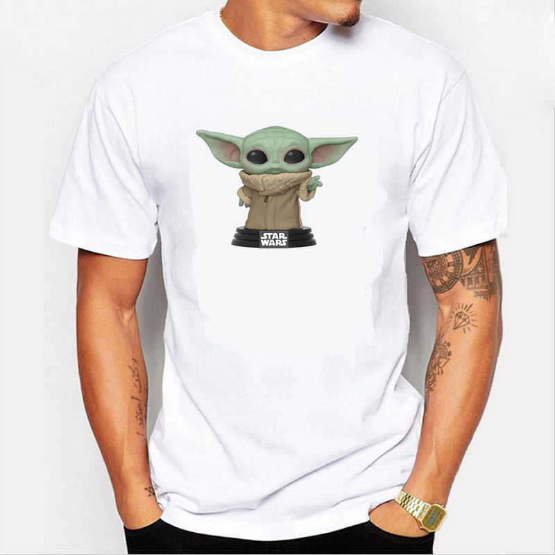 Young Mens Clothes Star Wars Mandalorian Baby Yoda Young  T Shirts For Men   Plain Casual Attire Cartoon Clothes