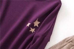 Image 4 - Zoete Warme Vrouwen Homewear Kleding Star Print Herfst Winter Lange Mouw Pyjama Set Katoen Vrouwelijke Nachtkleding Indoor Kleding