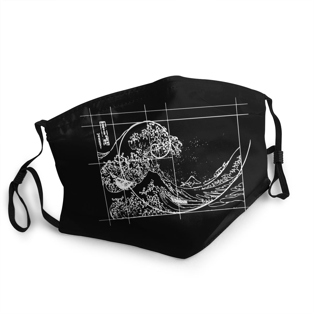 Hokusai Meets Fibonacci Sequence Non-Disposable Face Mask Anti Bacterial Dust Mask Protection Cover Respirator Mouth Muffle