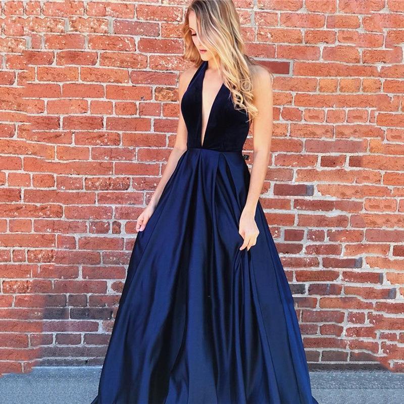 SoDigne Navy Blue Evening Dress Long 2020 Sexy A-line V-neck Dubai Satin Prom Dress Formal Gowns Special occasion dresses