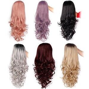 Image 3 - Длинные волнистые синтетические кружевные передние парики Is a wig, фиолетовый кружевной парик для черных/белых женщин, черный, розовый, коричневый цвет