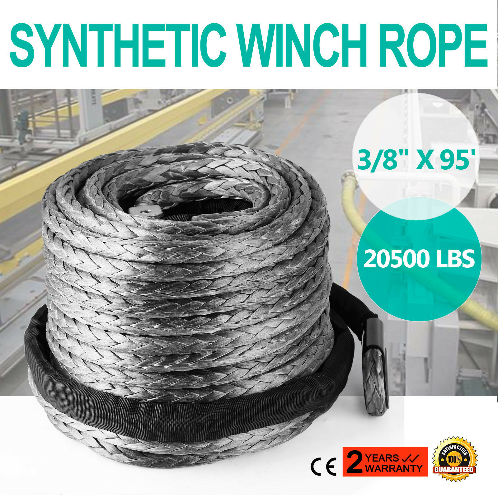 """3//8/"""" X 95/' Winch Synthetic Line Cable Rope 20500 LBs Recovery W// Thimble Sleeve"""