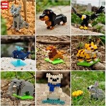 Kits de modelos de animales salvajes Mini figura Mosse mascota perro gato LegoINGlys bloques de construcción juguetes Micro tamaño ladrillos niños regalos de navidad