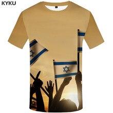KYKU Brand Israel Flag T shirt Men Israel Anime Clothes Character T-shirts 3d Harajuku Tshirt Printed Sky Tshirts Casual boegli boegli m 2 israel