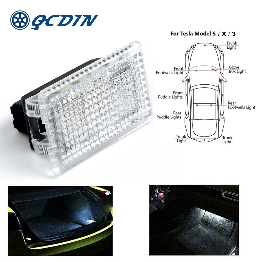 QCDIN Ultra-Bright For TESLA OEM Car LED Interior Light Door Trunk Footwell GloveBox Light For TESLA MODEL X S 3