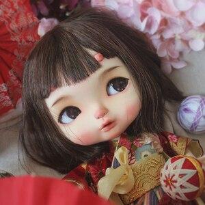 Blyth boneca nbl 1/6 bjd personalizado rosto, olhos grandes boneca maquiagem bola articulada com peruca com chifre de dragão maquiagem blyth s001
