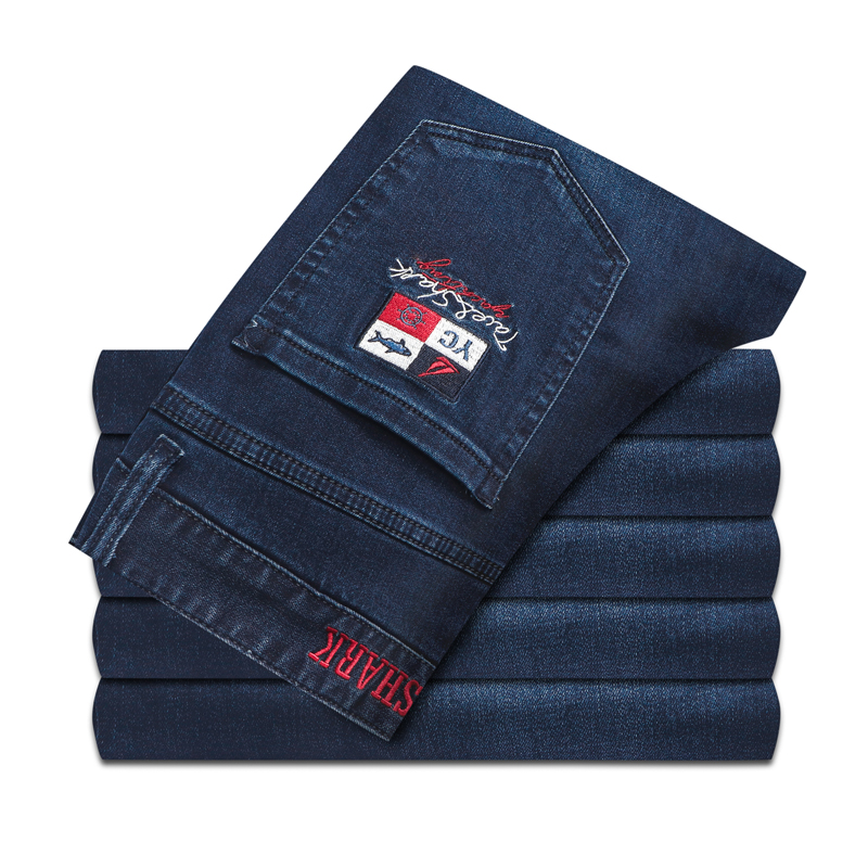 TACE7SHARK Jeans Men 2019 Autumn Winter Thick New Fashion Comfort High Quality Embroidery Designed 30-42 Blue Free Shipping